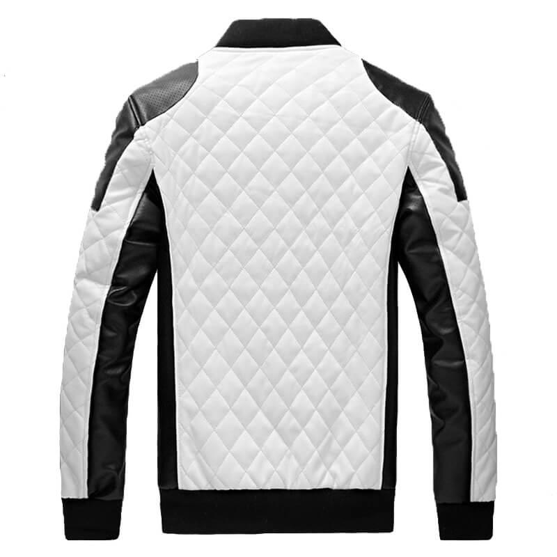 chaqueta de cuero blanca acolchada