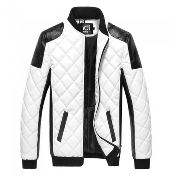 chaqueta de cuero blanca