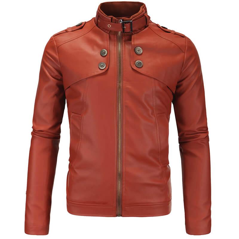 chaqueta marrón de cuero