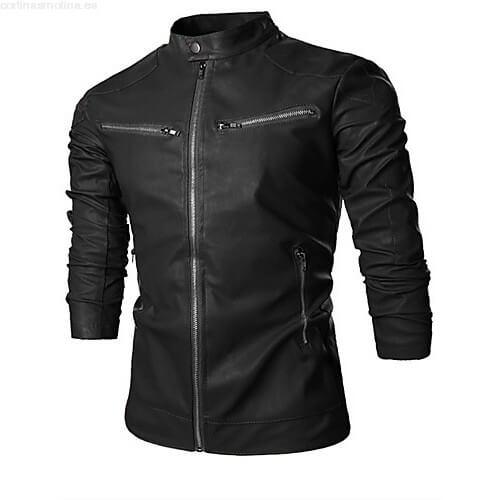 chaqueta negra de cuero
